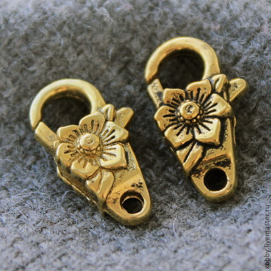 Замок застежка для украшений карабин Цветок Материал сплав с покрытием Цвет замка античное золото с чернением