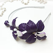 Украшения handmade. Livemaster - original item Bezel leather Orchid. Decoration leather. Leather flowers. Handmade.