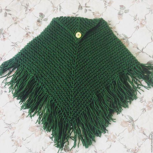 Пончо ручной работы. Ярмарка Мастеров - ручная работа. Купить Вязаное пончо. Handmade. Комбинированный, пончо для девочки, пончо теплое