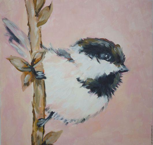 """Животные ручной работы. Ярмарка Мастеров - ручная работа. Купить Диптих  """"Птички"""" - картины маслом. Handmade. Картина"""