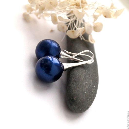 """Серьги ручной работы. Ярмарка Мастеров - ручная работа. Купить Серьги """"Царица племени Падаунг"""" синий. Handmade. Серьги"""