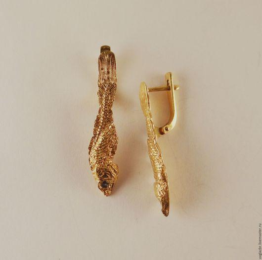 """Серьги ручной работы. Ярмарка Мастеров - ручная работа. Купить Серьги""""Золотые рыбки"""" с сапфирами. Handmade. Золотой, рыбка, сапфир натуральный"""