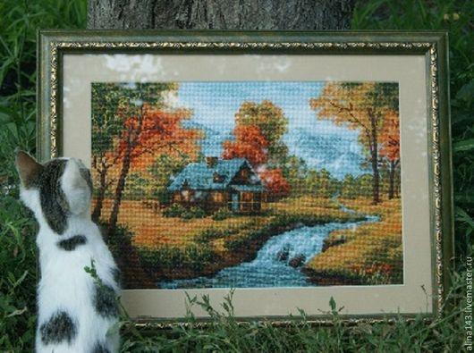 """Пейзаж ручной работы. Ярмарка Мастеров - ручная работа. Купить Картина """"Осенний пейзаж"""". Handmade. Оранжевый, пейзаж, картина в подарок"""