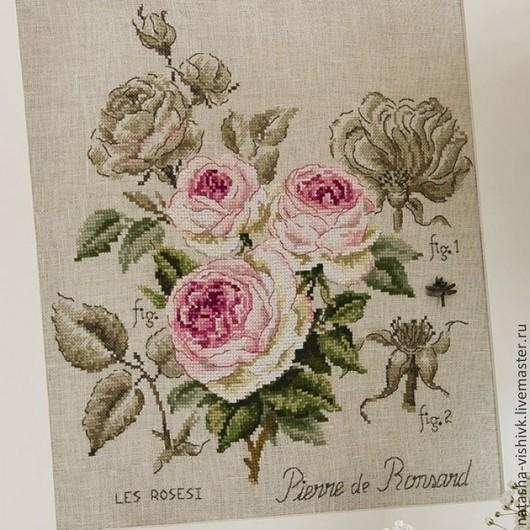 """Вышивка ручной работы. Ярмарка Мастеров - ручная работа. Купить Этюд роза """"Пьер де Ронсар"""" для вышивания крестом. Handmade."""