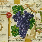 Материалы для творчества handmade. Livemaster - original item Napkins for decoupage a bunch of grapes on a background map. Handmade.