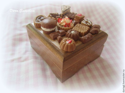 """Персональные подарки ручной работы. Ярмарка Мастеров - ручная работа. Купить Шкатулка со сладостями """"Шоколадное удовольствие"""". Handmade. Коричневый"""