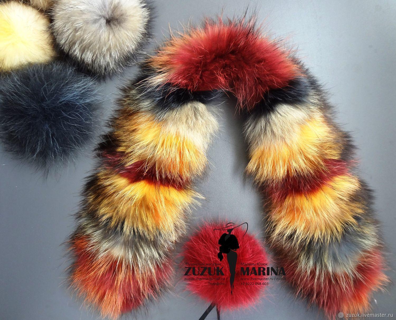 Copy of fur trimmed on the hood of raccoon multi color, Hoods, Ekaterinburg,  Фото №1