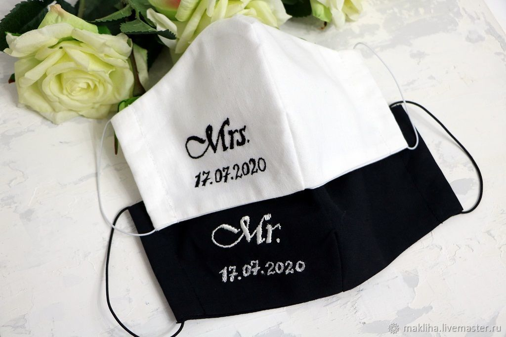 Wedding masks for the bride and groom with embroidery, Protective masks, Moscow,  Фото №1