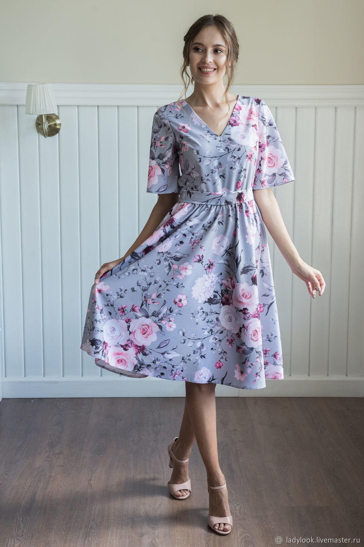 Платья ручной работы. Ярмарка Мастеров - ручная работа. Купить Платье с V-образным вырезом (цветы на сером) look 1466. Handmade.
