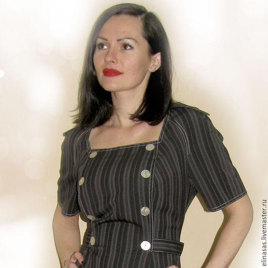 Платья ручной работы. Ярмарка Мастеров - ручная работа. Купить Платье в полосочку элегантное стройнящее. Handmade. Темно-серый, диплом