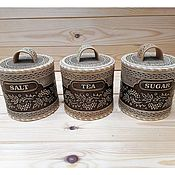 Посуда handmade. Livemaster - original item Set of delicacies Rowan Salt, Tea, Sugar # 3. Storage jars. Handmade.