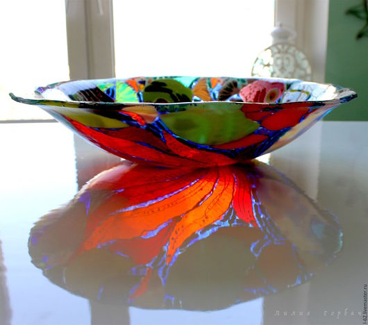 Тарелки ручной работы. Ярмарка Мастеров - ручная работа. Купить блюдо из стекла, фьюзинг Рыбонька моя. Handmade. Комбинированный
