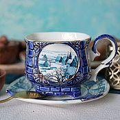 handmade. Livemaster - original item Tea pair porcelain