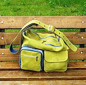 Сумки и аксессуары handmade. Livemaster - original item Women`s leather bag NOCTURNE olive with blue. Handmade.