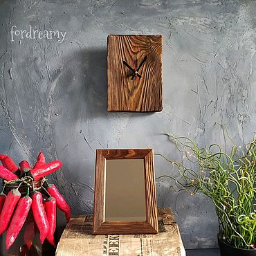 Для дома и интерьера ручной работы. Ярмарка Мастеров - ручная работа Набор часы настольные настенные и зеркало из амбарной доски Груша loft. Handmade.
