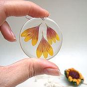 Украшения handmade. Livemaster - original item Transparent Earrings with Real Flowers Gaillardia Red Orange. Handmade.