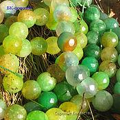 Бусины ручной работы. Ярмарка Мастеров - ручная работа Агат зеленый, желто зеленый граненый шар 2 вида. Handmade.