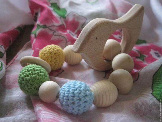 Детская бижутерия ручной работы. Ярмарка Мастеров - ручная работа. Купить Браслет с птичкой. Handmade. Прорезыватель, дерево