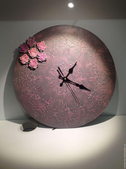 """Часы для дома ручной работы. Ярмарка Мастеров - ручная работа. Купить Часы интерьерные """"Розы"""". Handmade. Розовый, винтаж, шпатлёвка"""