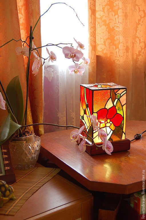 """Освещение ручной работы. Ярмарка Мастеров - ручная работа. Купить Светильник """"Орхидея"""". Handmade. Витраж Тиффани, паяный витраж"""