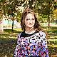 Блузки ручной работы. Ярмарка Мастеров - ручная работа. Купить Новинка - Трикотажная туника с воротником из замши -голубой и розовый. Handmade.