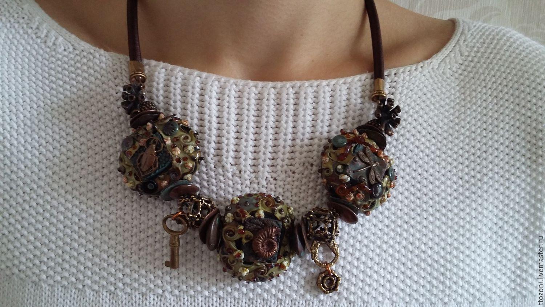 Necklace lampwork 'Biomechanics', Vintage necklace, St. Petersburg,  Фото №1