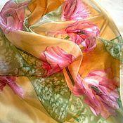 """Аксессуары ручной работы. Ярмарка Мастеров - ручная работа Шарф """"Цветы в подарок""""- 3  Голландские тюльпаны. Handmade."""