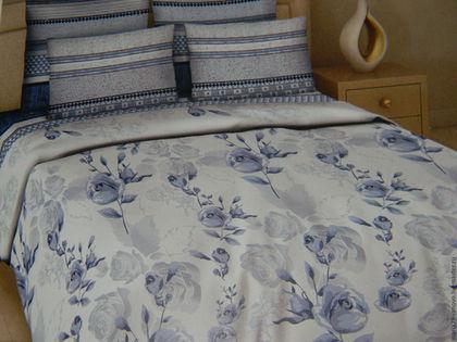 """Текстиль, ковры ручной работы. Ярмарка Мастеров - ручная работа. Купить Комплект постельного белья из поплина (перкаль)  """"Голубые розы"""". Handmade."""