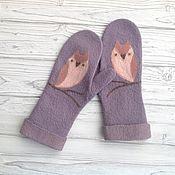 Аксессуары handmade. Livemaster - original item A copy of the work Mittens felted owl mittens felting. Handmade.