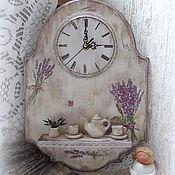 """Для дома и интерьера ручной работы. Ярмарка Мастеров - ручная работа часы с полочкой """"Лаванда""""  (Лавандовое чаепитие). Handmade."""