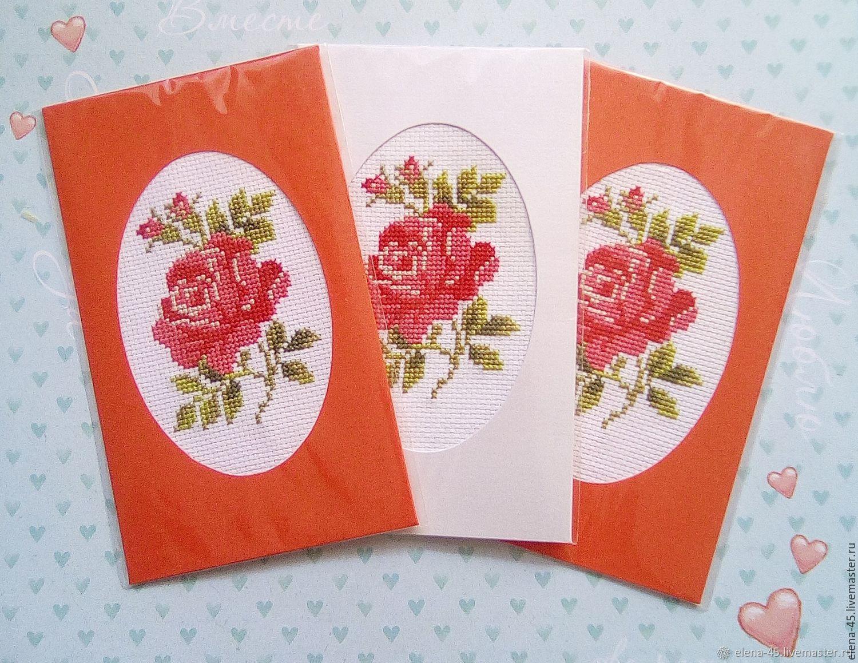 Цветы, мастер класс открытки с вышивкой своими руками