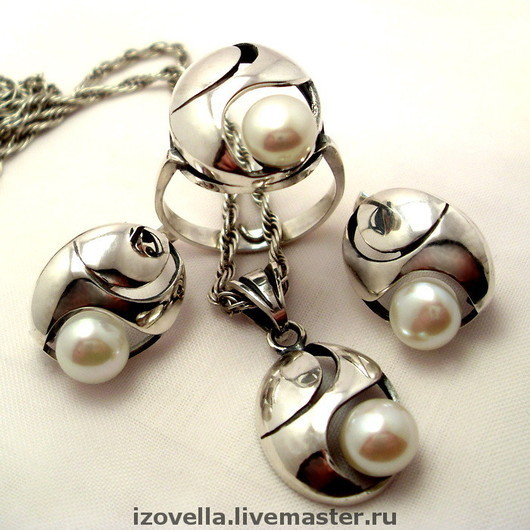 Jewelry Sets handmade. Livemaster - handmade. Buy Set 'breeze'- a natural pearl, 925 silver.925 sterling silver