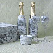 """Сувениры и подарки ручной работы. Ярмарка Мастеров - ручная работа Свадебный набор """"В серебре"""". Handmade."""