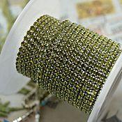 Цепочки ручной работы. Ярмарка Мастеров - ручная работа Стразовая цепь 2 мм Оливковый серебро. Handmade.