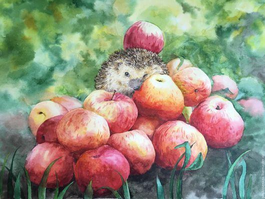 Натюрморт ручной работы. Ярмарка Мастеров - ручная работа. Купить Картина Ежик на яблоках. Handmade. Комбинированный, яблочки, акварель, стекло