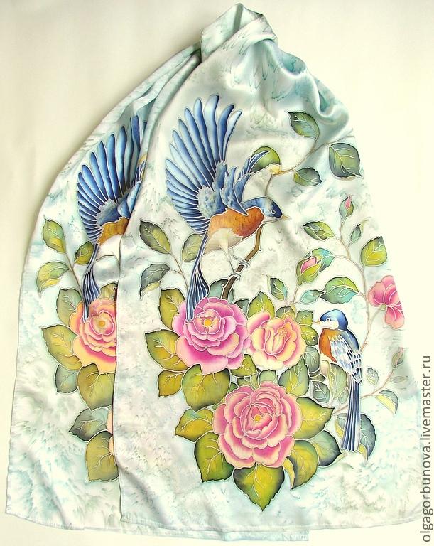 batik scarf 'birds', Scarves, Yaroslavl,  Фото №1