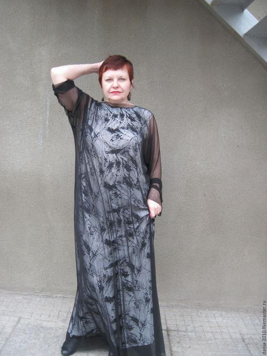 """Большие размеры ручной работы. Ярмарка Мастеров - ручная работа. Купить платье в пол """"ЛЕЯ"""". Handmade. Чёрно-белый, сетка"""