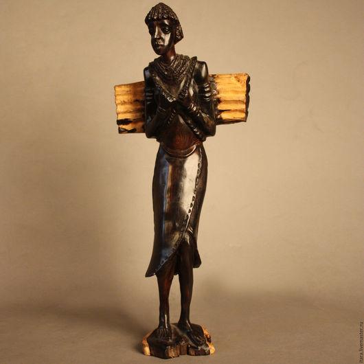 Статуэтки ручной работы. Ярмарка Мастеров - ручная работа. Купить Статуэтка женщина с хворостом Африка - эбеновое дерево. Handmade. Черный
