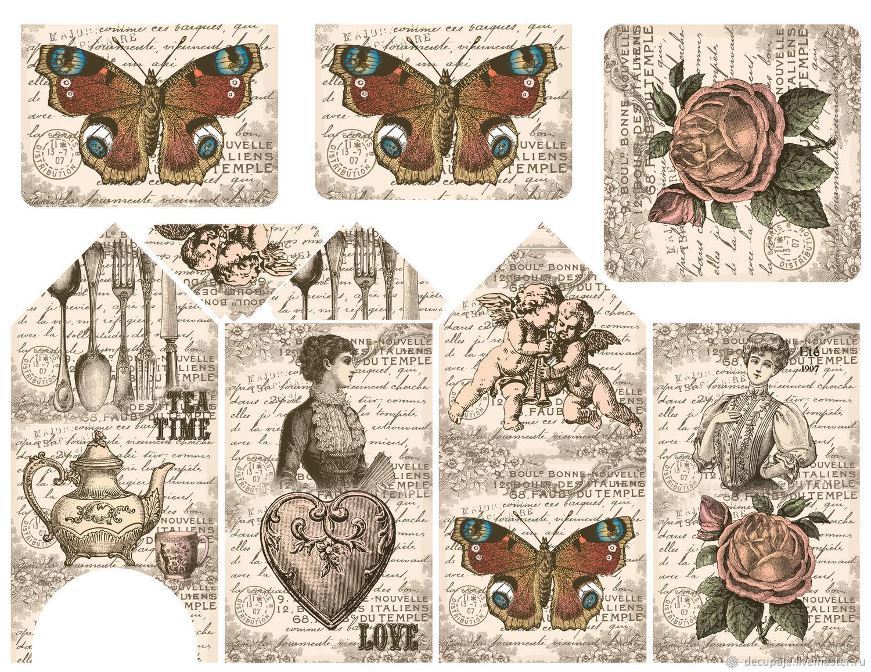 Декупажная карта для чайного домика Размер листа: А3         (30 х 42 см) Размер рисунка: 27 х 35 см Плотность бумаги: 35 г/м.кв. Материал: рисовая бумага
