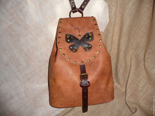 Рюкзаки ручной работы. Ярмарка Мастеров - ручная работа. Купить Рюкзак с бабочкой. Handmade. Коричневый, рюкзак женский