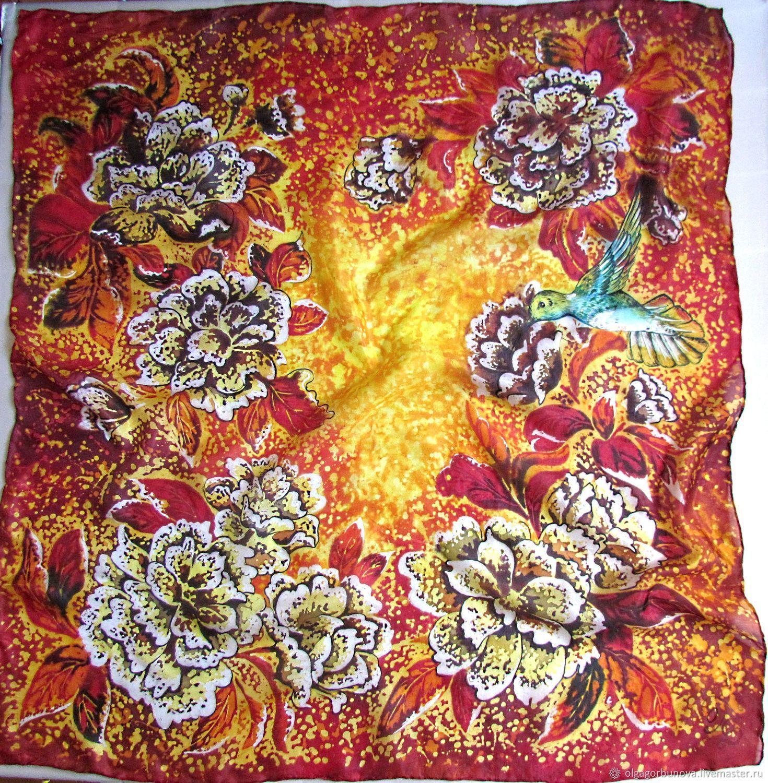 Batik scarf ' Hummingbird', Shawls1, Yaroslavl,  Фото №1
