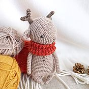 Куклы и игрушки handmade. Livemaster - original item Deer in the palm of your hand. knitted toy. Gift for new year and Christmas. Handmade.