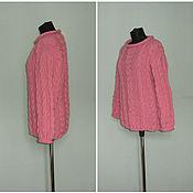 """Одежда ручной работы. Ярмарка Мастеров - ручная работа Вязанный  розовый джемпер"""" Коса косица"""". Handmade."""