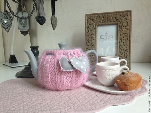 грелка, грелка на чайник, грелка вязаная, грелка для чайника, заварочный чайник, посуда, , подарок на день святого Валентина,  посуда для кухни, сервировка стола, любимой подруге новоселье розовый пушистый сердце  влюбленным 8 марта