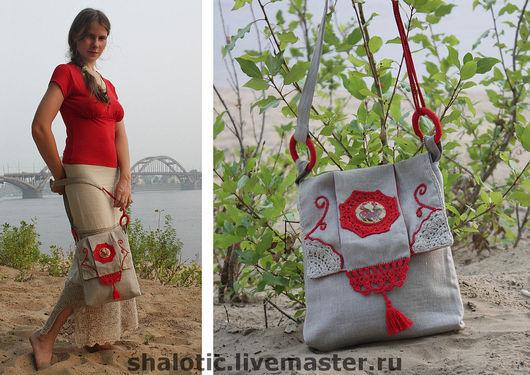 Льняная сумка в славянском стиле, текстильная  сумка, сумки ручной работы, автор Юлия Льняная сказка