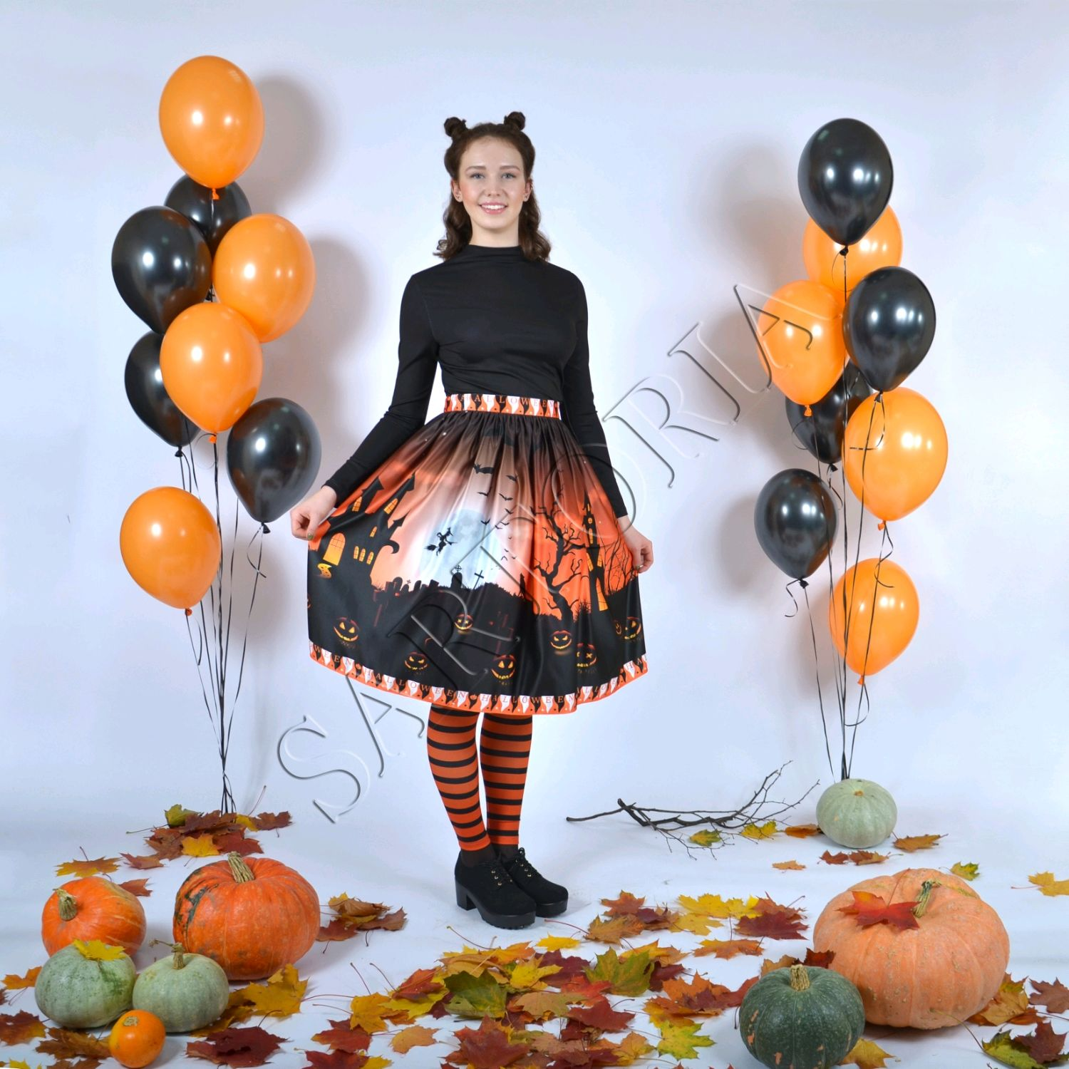 Halloween night skirt with evil pumpkins, striped leggings, Skirts, Moscow,  Фото №1