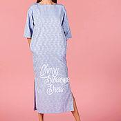 Одежда ручной работы. Ярмарка Мастеров - ручная работа Голубое хлопковое летнее коктейльное симпатичное длинное макси платье. Handmade.