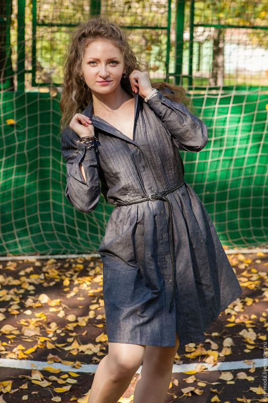 Платья ручной работы. Ярмарка Мастеров - ручная работа. Купить Новинка - Платье-рубашка с защипами - цвет классический джинсовый. Handmade.
