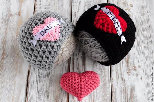 Для новорожденных, ручной работы. Ярмарка Мастеров - ручная работа. Купить Вязаные шапки с сердечками для фотосессии новорожденных. Handmade. Рисунок