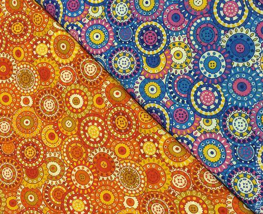 """Шитье ручной работы. Ярмарка Мастеров - ручная работа. Купить ткань ситец """"Круги"""" 2 цвета. Handmade. Сиреневый, разноцветный"""